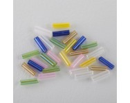 Canutillo Cristal Mate 6x2mm Multicolor.  - 1 BOLSA 10 GR -