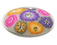 Oval fimo Flores Metalizado Incrustado Strass 36x21x13mm.