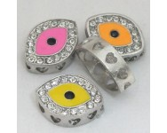 Enlace o Pieza Central con Strass Ojo Turco con corazones 18x13x4mm.  Multicolor