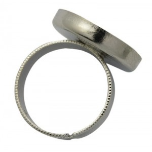 Base Anillo con cabuchon de 18mm. Platino